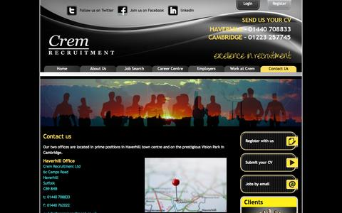 Screenshot of Contact Page Terms Page cremrecruitment.co.uk - Contact us - Content - Crem Recruitment - captured Oct. 23, 2014
