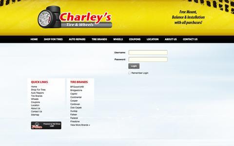 Screenshot of Login Page charleystiresandwheels.com - User Log In - captured Oct. 28, 2014