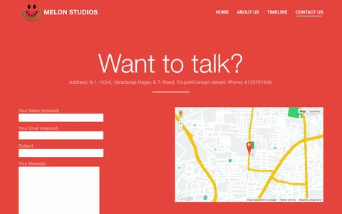 Screenshot of Contact Page melonstudios.in - Contact the melon team | Melonstudios - captured Oct. 27, 2014