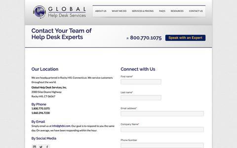 Screenshot of Contact Page ghdsi.com - Help Desk Company | Help Desk Support | Contact GHDSI - captured Sept. 28, 2018