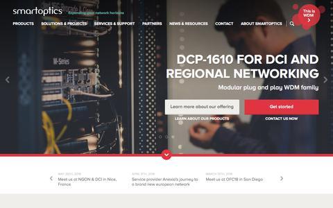 Screenshot of Home Page smartoptics.com - Smartoptics - Fiber optical networking solutions - captured Sept. 20, 2018