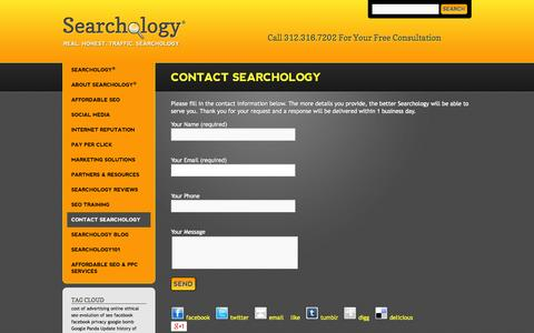 Screenshot of Contact Page searchology.biz - Contact Searchology for Internet Reputation Management & SEM   Searchology - captured Sept. 30, 2014