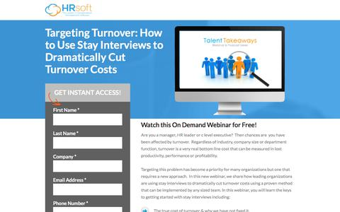 Screenshot of Landing Page hrsoft.com - Targeting Turnover: How to Use Stay Interviews to Dramatically Cut Turnover Costs - captured Aug. 14, 2018