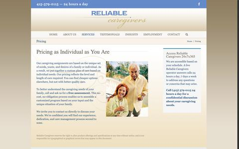 Screenshot of Pricing Page reliablecaregivers.com - Pricing - Reliable Caregivers - captured Oct. 18, 2018