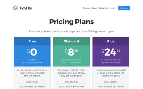 Screenshot of Pricing Page tidyhq.com - Pricing - TidyHQ. Get started for free, no sign up fees. - captured May 1, 2017
