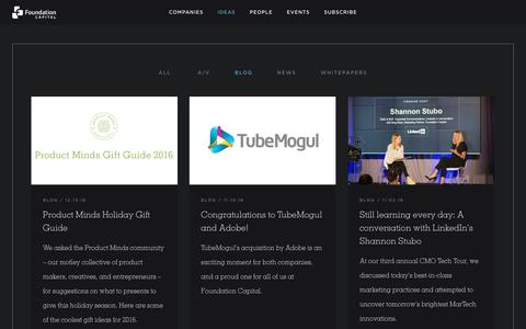 Screenshot of Blog foundationcapital.com - Blog Archives - Foundation Capital - captured Dec. 30, 2016