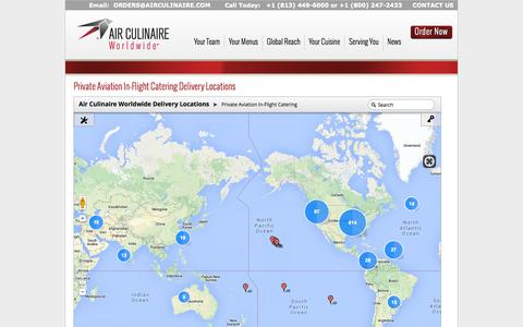 Screenshot of Locations Page airculinaireworldwide.com - Private Aviation Inflight Catering Delivery Locations | Air Culinaire Worldwide - captured Sept. 23, 2014
