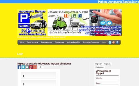 Screenshot of Login Page byparking.es - Parking Larga estancia Aeropuerto barajas   Byparking-Parking Aeropuerto Barajas low cost - captured Sept. 30, 2014