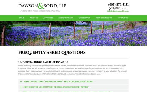 Screenshot of FAQ Page dawsonsodd.com - FAQs About Eminent Domain and Condemnation in Texas - captured Oct. 18, 2017