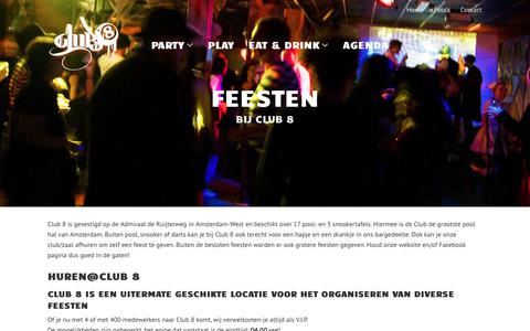 Screenshot of Home Page club-8.nl - Club 8 | Poolcafe Amsterdam - captured July 19, 2018