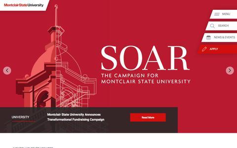Screenshot of Home Page montclair.edu - Montclair State University - captured Sept. 22, 2018