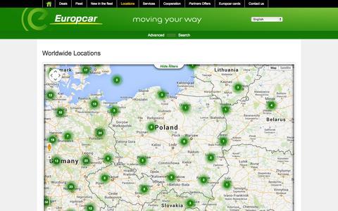 Screenshot of Locations Page europcar.com.pl - Car Rental in Poland | Europcar - captured Sept. 23, 2014