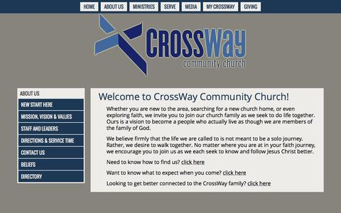 Screenshot of About Page crosswayorlando.org - New Start Here - captured Nov. 2, 2014