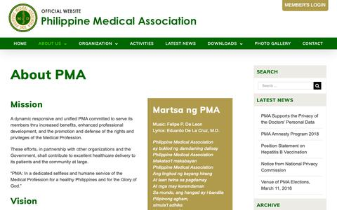Screenshot of About Page philippinemedicalassociation.org - About PMA – Philippine Medical Association - captured Oct. 25, 2018