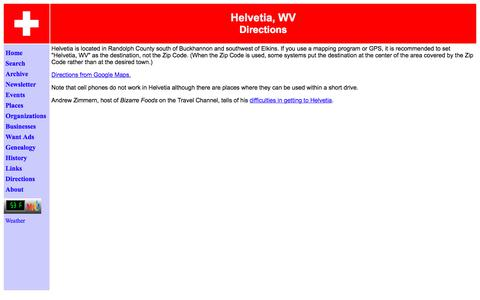 Screenshot of Maps & Directions Page helvetiawv.com - Directions to Helvetia, WV - captured Jan. 28, 2018