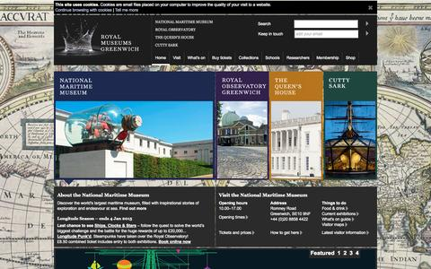 Screenshot of Home Page nmm.ac.uk - Royal Museums Greenwich : Sea, Ships, Time and the Stars : RMG - captured Dec. 18, 2014