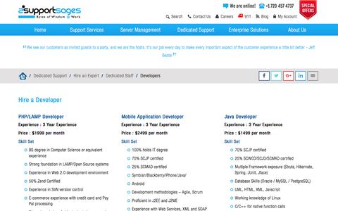 Screenshot of Developers Page supportsages.com - Hire A Developer | PHP Developer | E-commerce Development |Android Developer | Java Developer | CMS Development | Web Hosting Support - SupportSages - captured Feb. 1, 2016