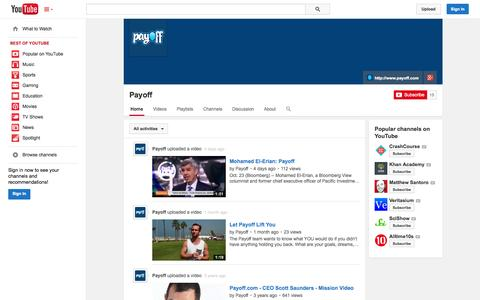 Screenshot of YouTube Page youtube.com - Payoff  - YouTube - captured Oct. 28, 2014