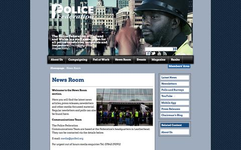 Screenshot of Press Page polfed.org - Police Federation - News Room - captured Oct. 3, 2014