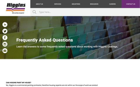 Screenshot of FAQ Page higgins.com.au - Frequently Asked Questions | Higgins Coatings - captured Sept. 23, 2019