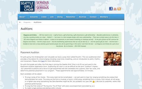 Screenshot of Signup Page seattlegirlschoir.org - Auditions | Seattle Girls' Choir - captured Oct. 27, 2014