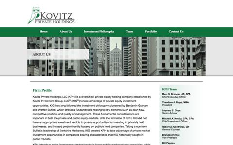Screenshot of About Page kovitzprivateholdings.com - About KPH | Chicago Private Equity Firm | Kovitz Private Holdings - captured Oct. 6, 2014
