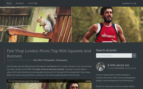 Screenshot of Blog joeallam.co.uk - Joe Allam | Freelance Designer/Photographer, London - captured Oct. 27, 2014