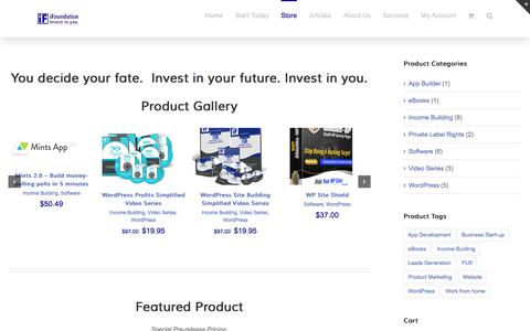 Screenshot of Products Page ifoundation.net - iFoundation Products: videos, programs and ebooks to building money - captured Aug. 6, 2016