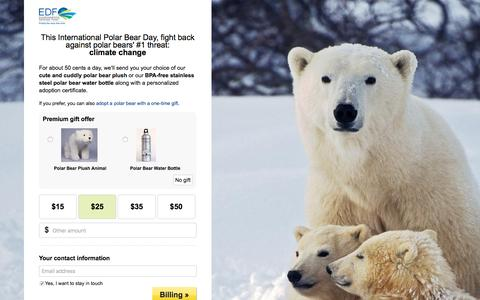 Screenshot of Landing Page edf.org - Adopt a Polar Bear with a Monthly Gift to EDF - Environmental Defense Fund - captured Dec. 21, 2016