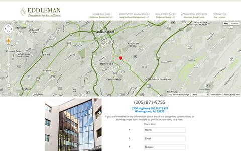 Screenshot of Contact Page eddleman.com - Contact Us||Our Location - captured Nov. 1, 2014