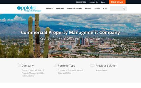 Screenshot of Case Studies Page appfolio.com - Property Managers and their residents Happier Than Ever with AppFolio - captured March 22, 2017
