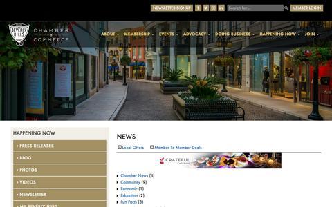 Screenshot of Press Page beverlyhillschamber.com - News - Happening Now Page  - Beverly Hills - captured Nov. 22, 2016