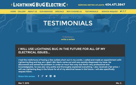 Screenshot of Testimonials Page lightningbugelectric.com - Testimonials | Marietta Electrician - captured Dec. 10, 2015