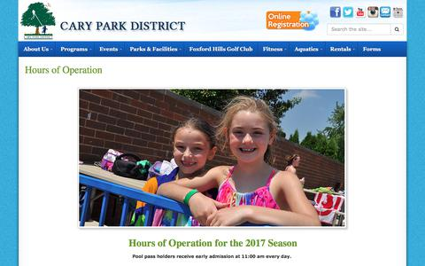 Screenshot of Hours Page carypark.com - Hours of Operation | Cary Park District - captured July 17, 2017