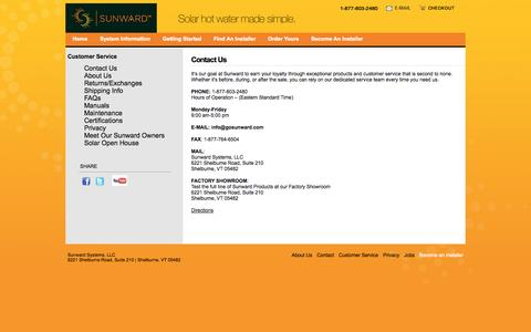 Screenshot of Contact Page gosunward.com - Contact Us   Sunward Systems - captured Oct. 7, 2014