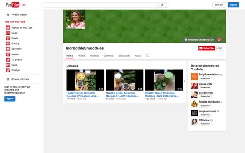 Screenshot of YouTube Page youtube.com - IncredibleSmoothies  - YouTube - captured Oct. 23, 2014