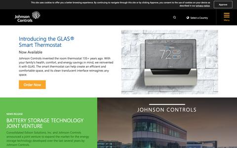 Screenshot of Home Page johnsoncontrols.com - Johnson Controls - captured Oct. 9, 2018