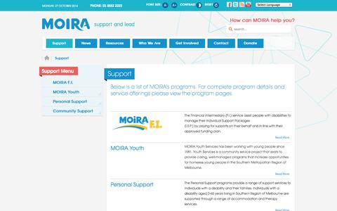 Screenshot of Support Page moira.org.au - MOIRA | Disability & Youth Services - Support - captured Oct. 26, 2014