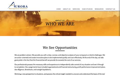 Screenshot of About Page auroramp.com - Aurora Management Partners  » Who We Are - captured Oct. 9, 2017