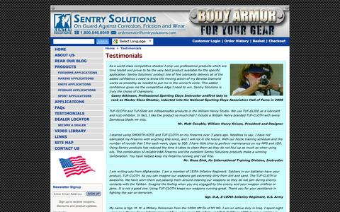 Screenshot of Testimonials Page sentrysolutions.com - Sentry Solutions - captured Sept. 26, 2014