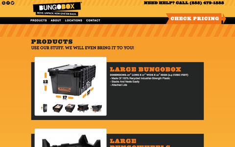 Screenshot of Products Page bungobox.com - Recyclable Plastic Moving Boxes   BungoBox - captured Aug. 4, 2018