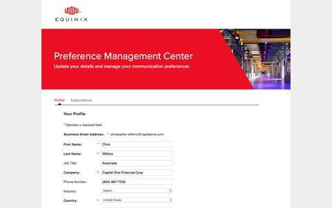 Screenshot of Landing Page equinix.com - Equinix   Preference Center - captured Sept. 27, 2018