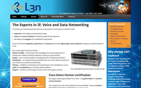 Screenshot of Home Page Services Page l3n.co.uk - Home | L3n - captured Oct. 1, 2014