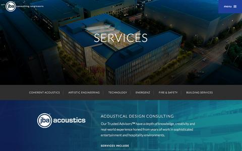 Screenshot of Services Page jbace.com - Engineering Services | JBA Consulting Engineers, Inc. - captured March 22, 2016