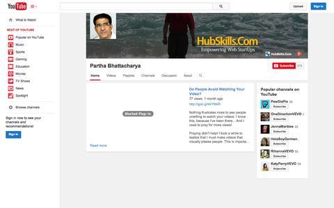 Screenshot of YouTube Page youtube.com - Partha Bhattacharya  - YouTube - captured Nov. 2, 2014