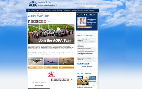 Screenshot of Jobs Page aopa.org - Join the AOPA Team - AOPA - captured Sept. 18, 2014