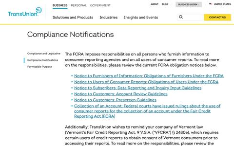 Screenshot of Support Page transunion.com - Compliance Notifications | Client Support | TransUnion - captured Oct. 24, 2018