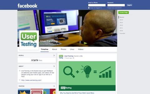 Screenshot of Facebook Page facebook.com - UserTesting | Facebook - captured Oct. 22, 2014