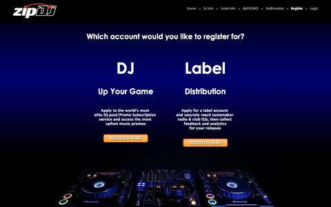 Screenshot of Signup Page zipdj.com - :: zipDJ :: Music. Technology. Design. Culture. - captured Jan. 14, 2016