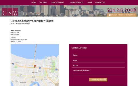 Screenshot of Contact Page chehardy.com - Contact Us | Chehardy Sherman Williams - captured Sept. 25, 2016